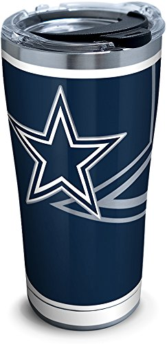 Tervis 1299930 NFL Dallas Cowboys Rush Stainless Steel Tumbler With Lid, 20 oz, Silver -
