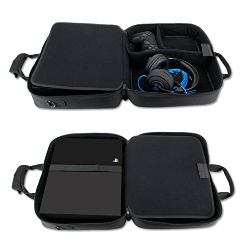 USA GEAR PlayStation 4 Slim & PS4 Pro Case Travel Console Carrying Bag with Controller, Games, Headset, Accessories Storage & Adjustable Padded Shoulder Strap - Fits All PS4 & PS3 Models - Black