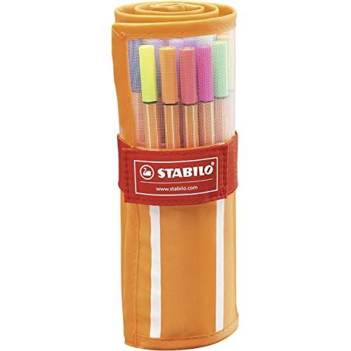chollos oferta descuentos barato Rotulador punta fina STABILO point 88 Estuche premium de tela Rollerset con 30 colores
