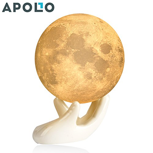 Apollo Box 3.5 inch 3D Printing Moon Lamp, Smart Touch Control Rechargeable LED Moon Night Light with Multi-Colors for Bedrooms,Best Moon Desk Lamp for Babies Kids & Lovers with Ceramic Hand Base