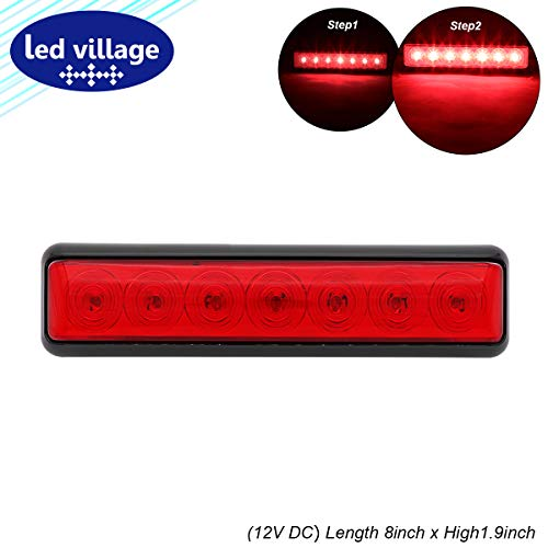 "LedVillage 8"" Red LED Long Side Indicator Marker Tail Lights Sealed Clearance Lamp Signal Brake Stop w/Bracket for Trailer Truck RV Caravan Bus Lorry Tow Ultra Bright 12V DC Waterproof L7 [Pack of 1] - Ultra Tow Brake"