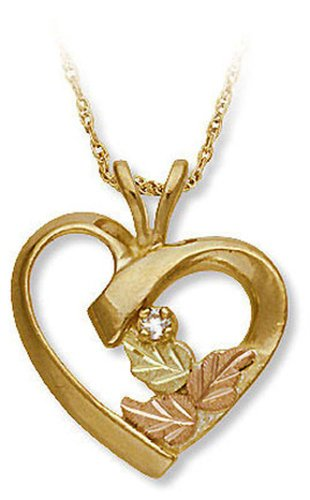- Landstroms 10k Black Hills Gold Diamond Heart Pendant Necklace, 18