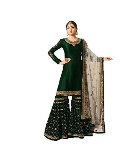 Indian Designer Satin Georgette Fabric Sharara Muslim Party Wear Salwar Kameez Suit with Georgette Dupatta (Medium, Green 1)