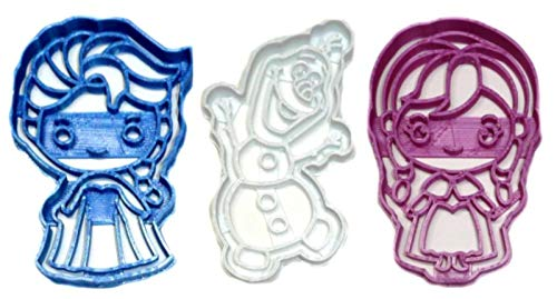 FROZEN WINTER KINGDOM ICE SNOW QUEEN ELSA OLAF ANNA MOVIE ANIMATION FICTIONAL CHARACTERS SET OF 3 SPECIAL OCCASION COOKIE CUTTER BAKING TOOL 3D PRINTED MADE IN USA PR1251 (Elsa Cookie Cutter)