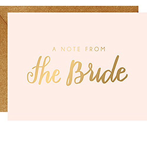 PAPER SOURCE//DELUXE BOXED STATIONERY//A Note From The Bride Cards//Beautifully Finished With Gold Foil - Great Wedding Theme/Design - Perfect For A Friendly Note Or Thank You (Note Bride)