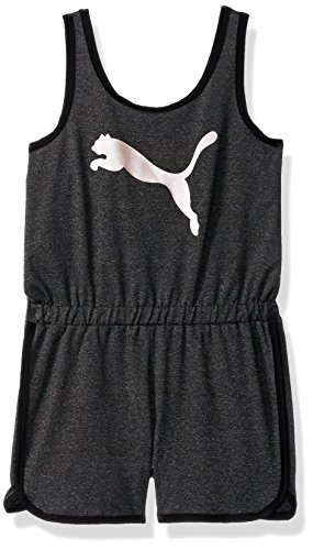 PUMA Girls' Big Cat Logo Romper, Ebony Heather, X-Large -