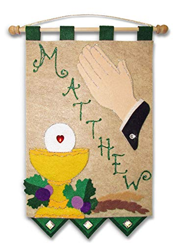 First Communion Banner Kit - 9 x 12 - Praying Hands - Green]()