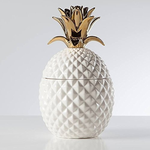 Torre & Tagus Pineapple Gold Crown Ceramic Canister Tall White