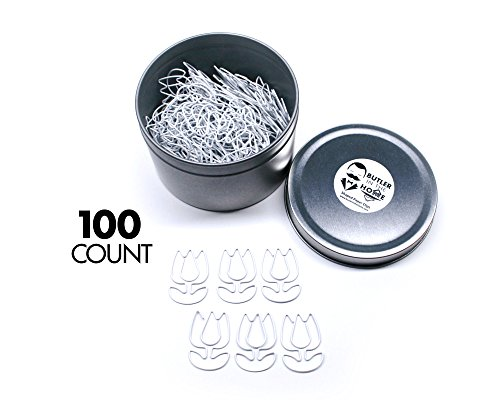 Butler in the Home Tulip Flower Shaped Paper Clips Great For Paper Clip Collectors or Office Gift - Comes in Round Tin with Lid and Gift Box (100 Count White)