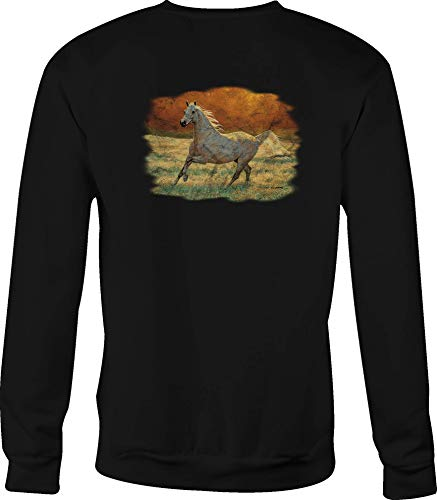 Motorcycle Crewneck Sweatshirt Arabian White Horse Running in The Field - 3XL Black ()