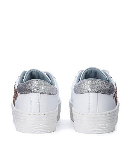 Collezione Chiara Ferragni Donna Chiara Ferragni Suite Sneaker In Pelle Bianca Con Palmi Glitterati Bianchi
