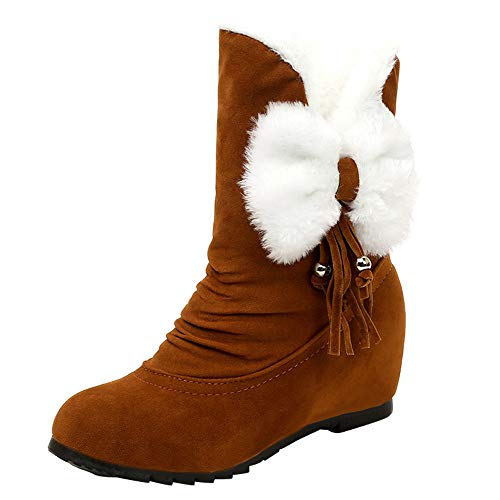 for Shoes,AIMTOPPY Female Round Head Wedge with Suede Bow Warm Snow Boots