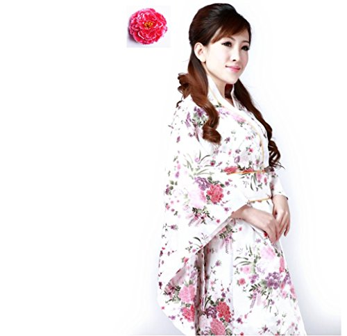 Halloween party event sexy kimono costume (Flower pattern white【sz015】)