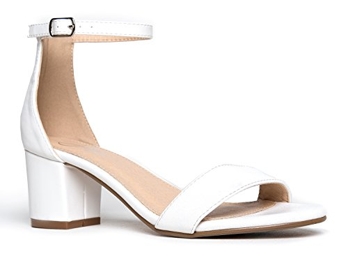 (J. Adams Ankle Strap Kitten Heel, White PU, 11 B(M) US)