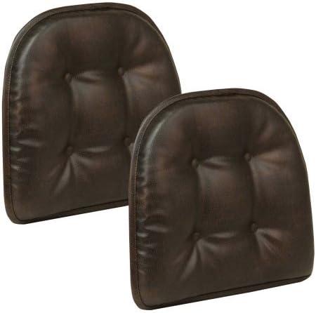 Gripper Non Slip 15″ x 16″ Nouveau Tufted Chair Cushions Faux Leather Dark Brown
