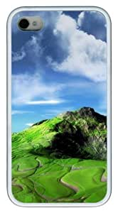 Grass In Mountains TPU White Case for iphone 4S/4