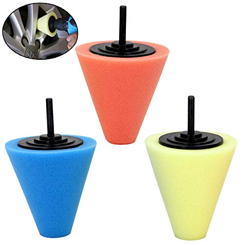 (Car Buffers and Polishers Kit for Drill- 3 Pcs Drill Polishing Wheel Foam Ball Buffing Pads Sponge Ball for Automotive Car Wheels Hub Care, Metal, Plastic, Ceramic and Glass )