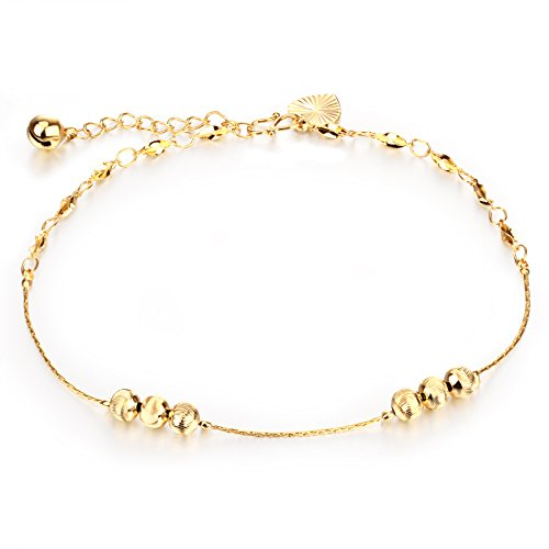 OPK Jewelry 18k Gold Plated Copper Women Anklet Bracelet Chain Lantern Pendant Links Curb Chain Length (14k 18k Charm Bracelet)