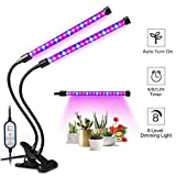 Plant Grow Light, 2-Head LED Growing Lamp Kit with Two-Way Timer and 36 Red/Blue Spectrum Bulbs, 8 Dimmable Levels, 4/8/12H Memory Cycle Timing, Auto ON & Off Every Day for Indoor Plants and Gardening For Sale