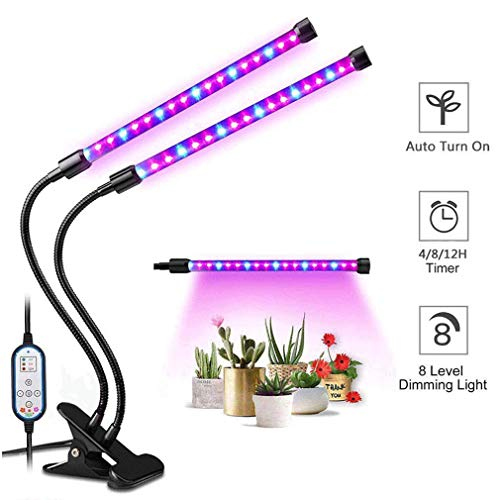 Plant Grow Light, 2-Head LED Growing Lamp Kit with Two-Way Timer and 36 Red/Blue Spectrum Bulbs, 8 Dimmable Levels, 4/8/12H Memory Cycle Timing, Auto ON & Off Every Day for Indoor Plants and Gardening