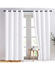 NICETOWN Room Darkening Curtain - White Curtains 84 Inches Long Light Filtering Draperies for Living Room/Bedroom, 52-Inch Wide, Pure White, 2 Pcs