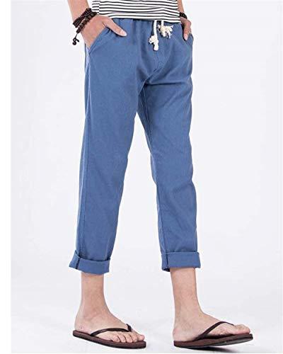 Denim Jogging Pantalones Cómodos Blau Los De Rectos Lino Basicas Hombres Deportivos Casuales pCOnpqv