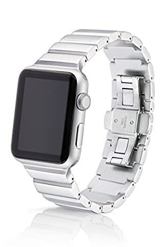 42mm JUUK Ligero Premium Apple Watch band, made with Swiss quality using the highest grade 6061 series aluminum with a solid steel stainless butterfly deployant buckle (matte (Butterfly 7000)