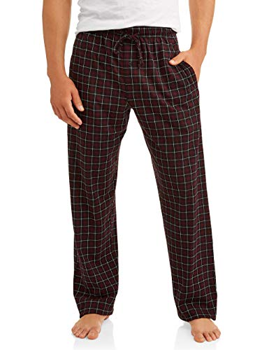 Hanes Men's ComfortSoft Cotton Printed Lounge Pants (Small, Red/Black Plaid)