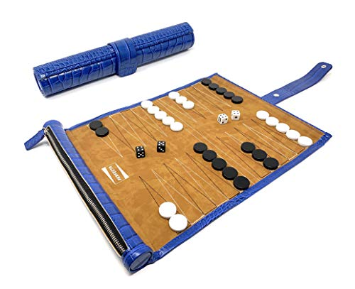 - Perfecta Roll-up Travel Backgammon Game Set (Blue)