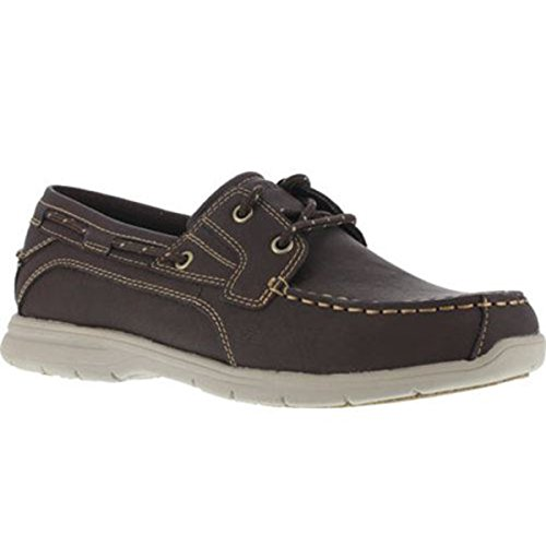 Eye Tie Shoe - Grabbers Men's Runabout Two Eye Tie Boat Shoes, Brown Leather, Rubber, 11.5 M