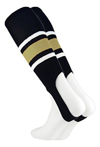 MadSportsStuff Pattern E Baseball Stirrups By TCK (Black/Vegas Gold/White, Large) ()