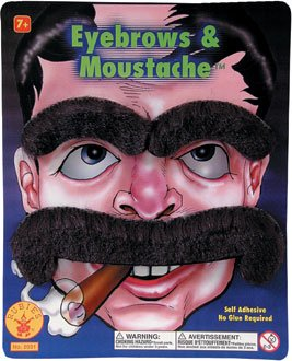 Rubie's Costume Co. Large Mustache & Eyebrows Costume, One Size, Multicolor ()