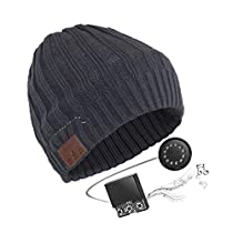 LingsFire V4.2 Bluetooth Beanie Bluetooth Hat Wireless Headphones Hat Beanie for Jogging Travel Running for Men Women Warm Music Hat Built-in Microphone Washable Knit Hat (Gray)