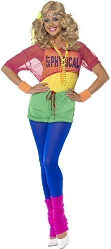 Ladies 1980s 80s Neon Aerobic Lets Get Physical Leotard Workout Fancy Dress Costume Outfit 6-18 (UK 4-6) ()