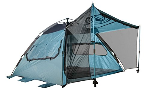 Quick-Up Cabana Style XL Beach Tent– 2 in 1 Sun Canopy And Summer Shelter– Perfect For Family Outings, Camping Trips, Or Lakeside Activities – By Wildhorn Outfitters (Sea Blue / Charcoal)