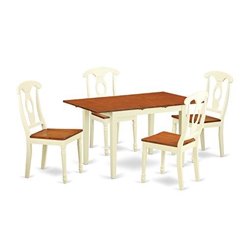 East West Furniture NOKE5-WHI-W 5 Piece Table and 4 Dining Chair