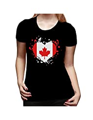 MARSOPHCK Women's Flag Heart Canada Leaf Of Maple T-shirt-Black