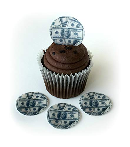 Money 100 Hundred Dollar Bills Wafer Paper Toppers 1.5 Inch for Decorating Desserts Cupcakes Birthday Cakes Cookies Pack of ()