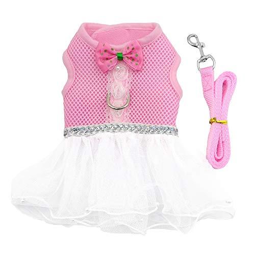 M2cbridge Soft Air Mesh Ruffled Small Animals Harness Dog Cat Vest Tutu Skirt Leash Set for Pets from M2cbridge