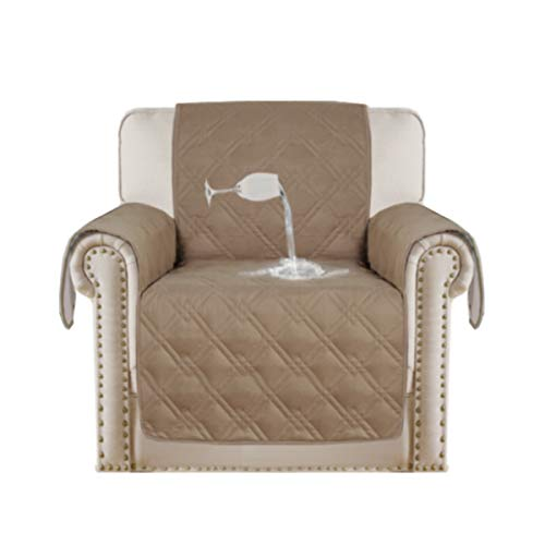 Turquoize Luxurious Arm Chair Slipcover for Quilted Furniture Protector Microfiber Soft and Suede-Like Stay in Place with Non-Skid Backing 100% Waterproof Chair Furniture Cover- Taupe-75x65-Inch