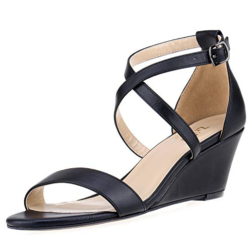 ZriEy Women's 2 Inch Mid Wedge Platform Sandals Ankle Strap Buckle Heeled Sandals Black Size 5