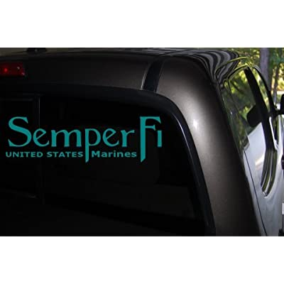 Classy Vinyl Creations Semper Fi Car Decal (Teal) - Auto Decal - Truck Decal - SUV Decal - Window Sticker - Window Decal - Marine Decal - Army Decal - Military Decal - (Teal): Automotive