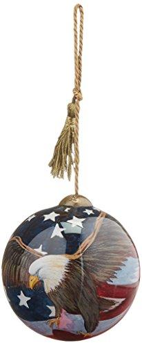"Ne'Qwa Art, Patriotic Gifts, ""God Bless America"" Artist Susan Winget, Petite Round-Shaped Glass Ornament, #7000784"