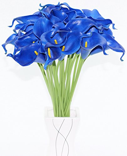 Simpleyourstyle Calla Lily Artificial Flower 30pcs No Vase Bridal Wedding Bouquet 30 Head Latex Real Touch Flower Bouquets (Black) (Sapphire Blue)