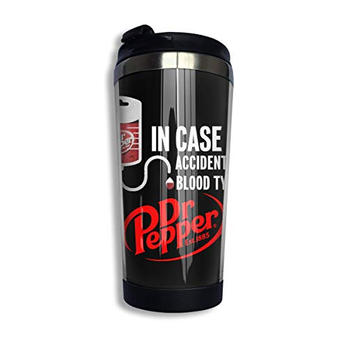 Mug Pepper - YOHHOY in Case of Accient, My Blood Type is Dr.Pepper Custom Coffee Cups with Lids 14 OZ Morning Tea Cup Travel Tumbler Mug