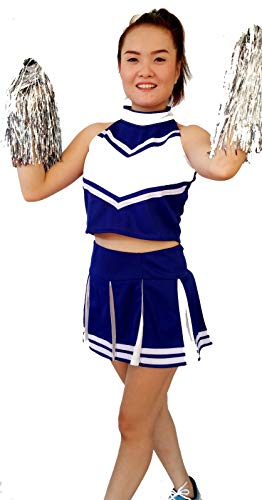 Women Cheerleader Cheerleading Outfit Uniform Costume Cosplay Blue/White (XS/ 0-2) -