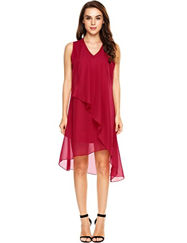 Women Summer Chiffon Loose Dress Red XL - 6