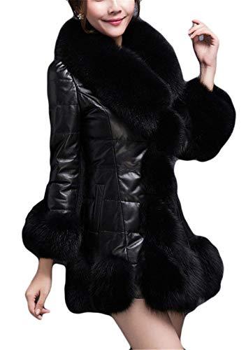 Cuero Abrigo Fashion Espesar Casuales Sintética Larga Manga Mujeres Invierno Elegantes De Battercake Termica Parkas Outwear Mujer Splice Piel Schwarz Chaqueta Slim Fit xqapxXT