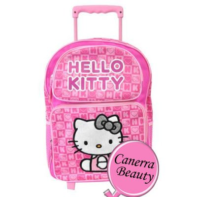 Hello Kitty Large Rolling Backpack Pink Box Checker New School Bag 82347