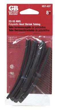 Gardner Bender HST-AST Assorted Electrical Heatshrink Tubing, ⅛-¼ x 4 inch, 8 pk, UV Resistant Black